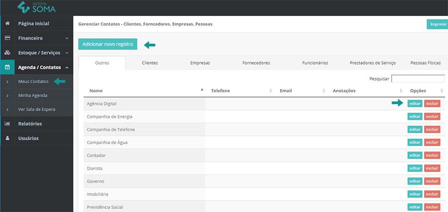 Criando ou editando um cliente ou fornecedor no Sistema Soma